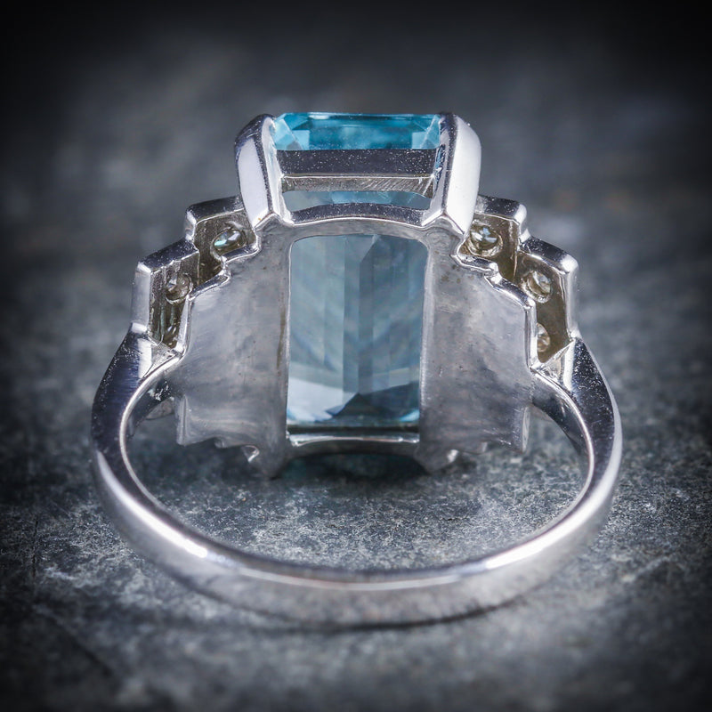 AQUAMARINE DIAMOND ENGAGEMENT RING 18CT GOLD 6ct AQUAMARINE BACK