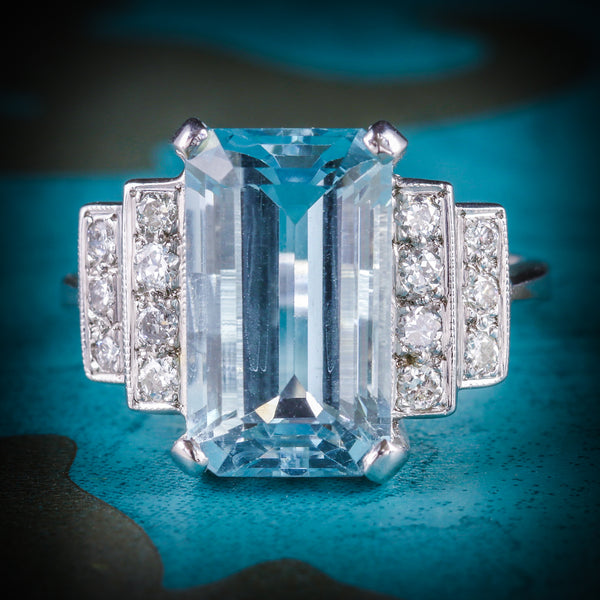 AQUAMARINE DIAMOND ENGAGEMENT RING 18CT GOLD 6ct AQUAMARINE COVER