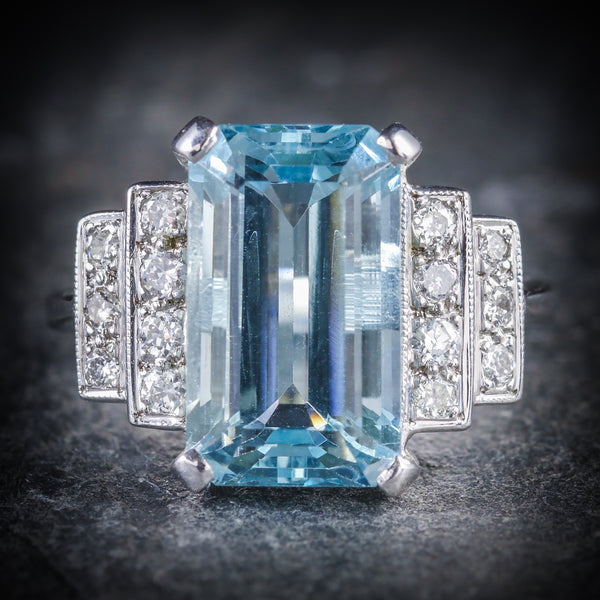 AQUAMARINE DIAMOND ENGAGEMENT RING 18CT GOLD 6ct AQUAMARINE FRONT