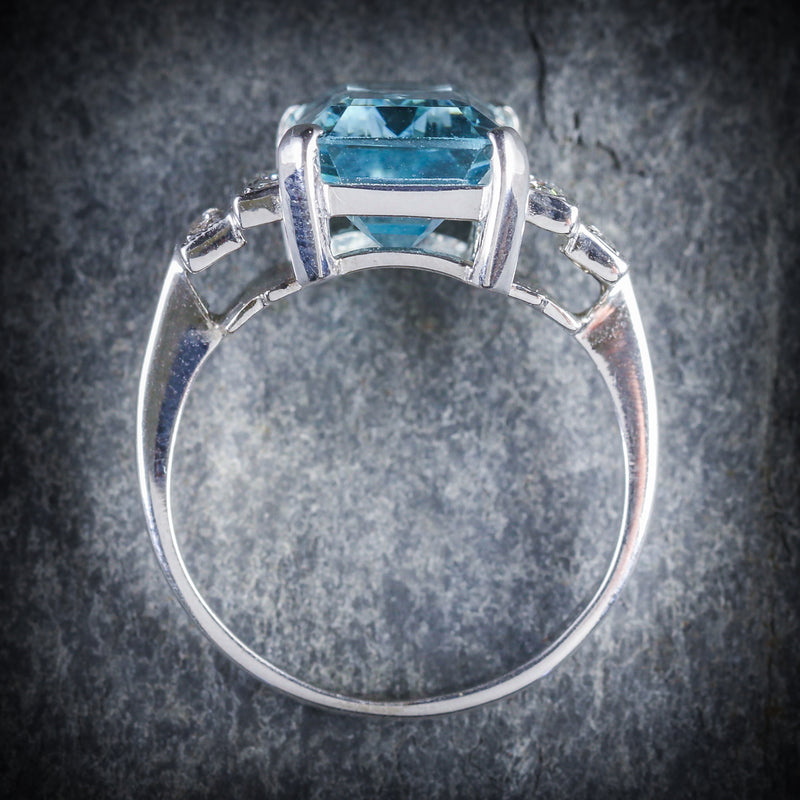 AQUAMARINE DIAMOND ENGAGEMENT RING 18CT GOLD 6ct AQUAMARINE TOP