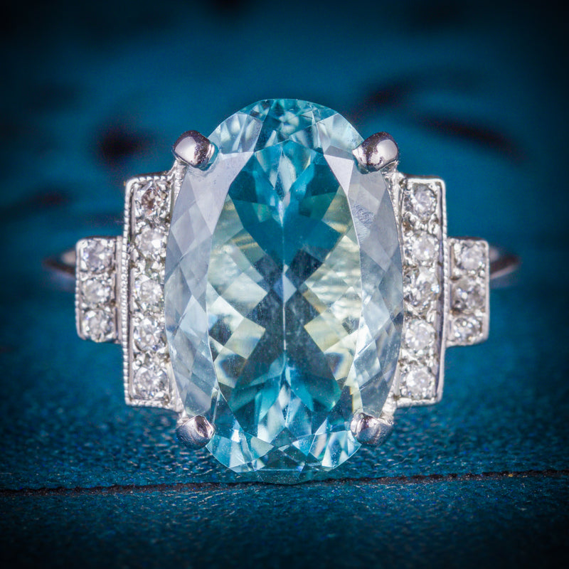 AQUAMARINE DIAMOND ENGAGEMENT RING 18CT WHITE GOLD COVER