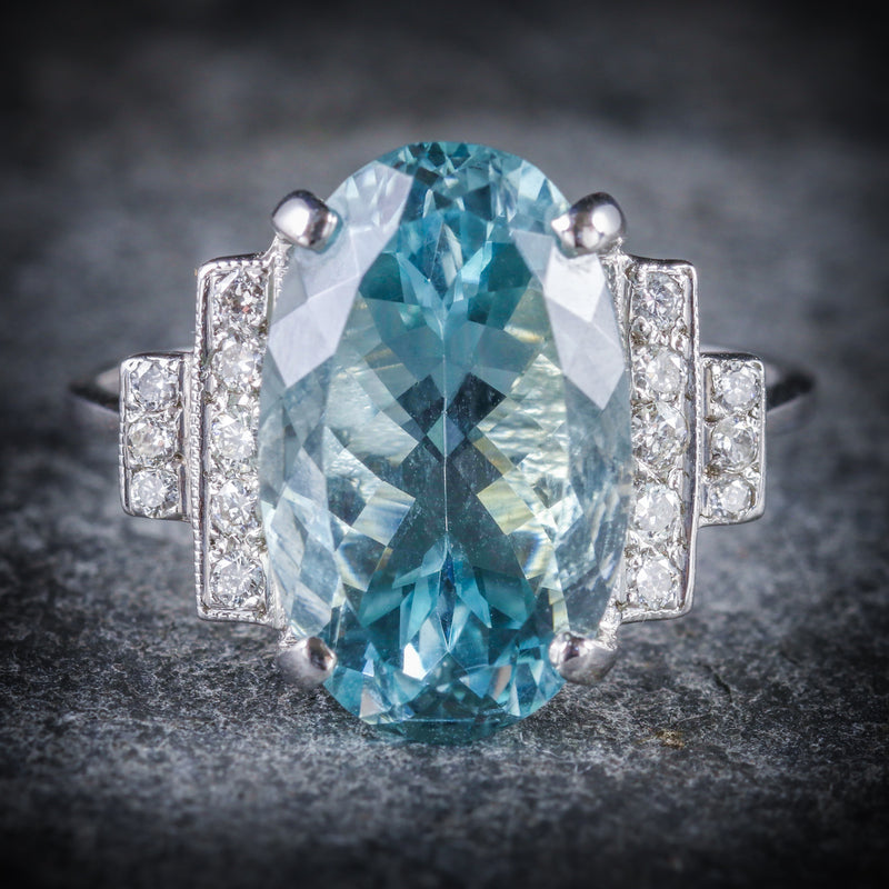 AQUAMARINE DIAMOND ENGAGEMENT RING 18CT WHITE GOLD FRONT