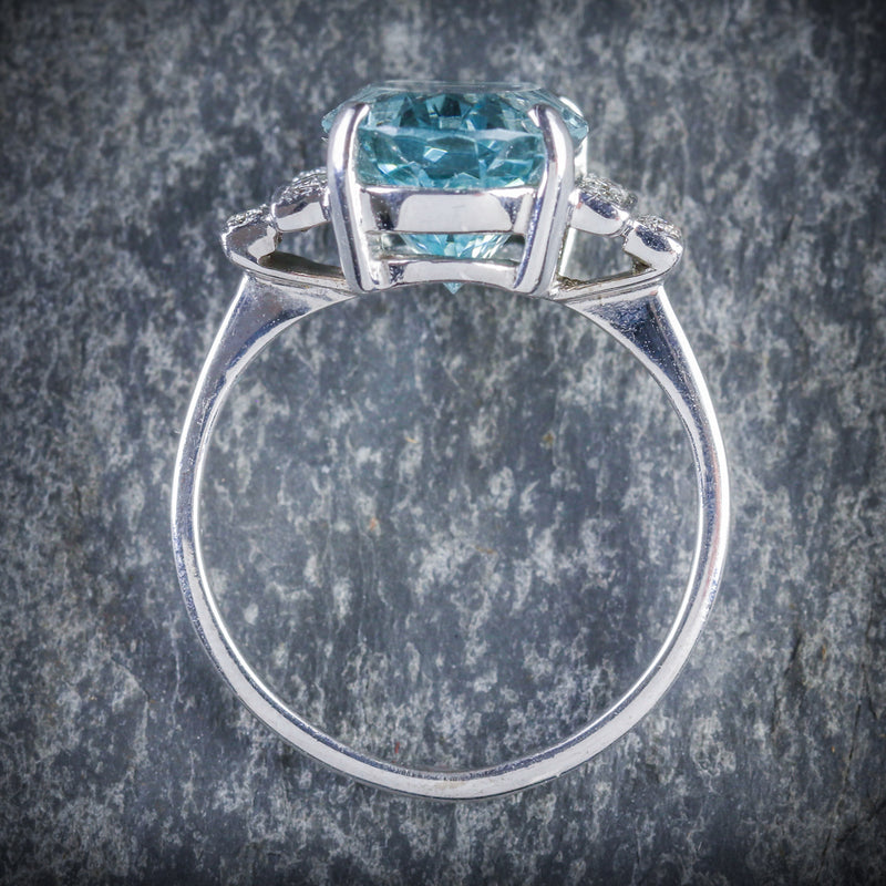 AQUAMARINE DIAMOND ENGAGEMENT RING 18CT WHITE GOLD TOP
