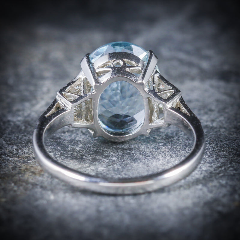 AQUAMARINE DIAMOND ENGAGEMENT RING PLATINUM BACK