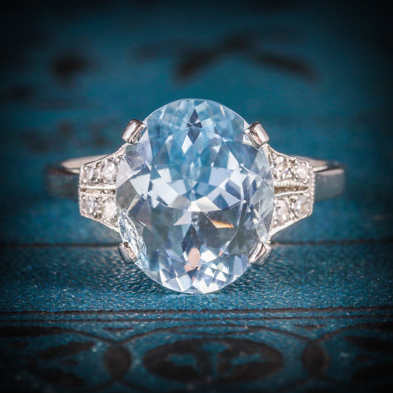 AQUAMARINE DIAMOND ENGAGEMENT RING PLATINUM COVER