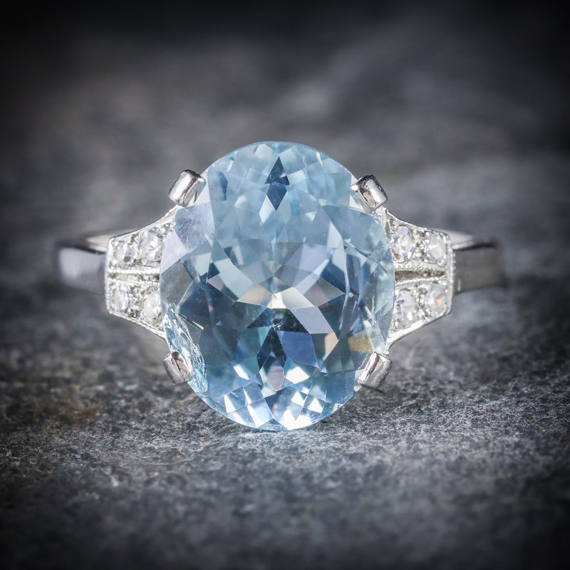 AQUAMARINE DIAMOND ENGAGEMENT RING PLATINUM FRONT