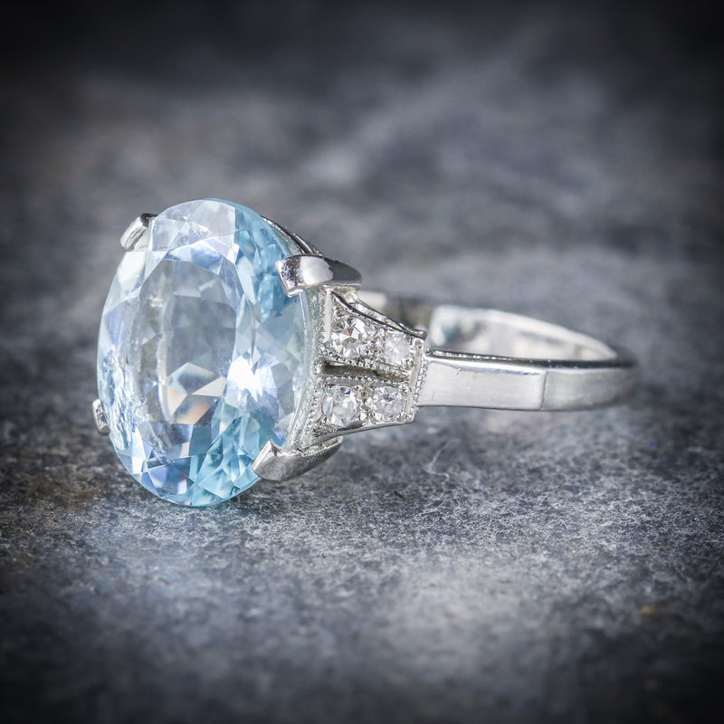 AQUAMARINE DIAMOND ENGAGEMENT RING PLATINUM SIDE
