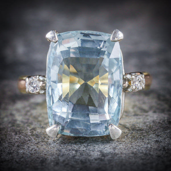 AQUAMARINE DIAMOND RING 20CT AQUA 18CT GOLD FRONT