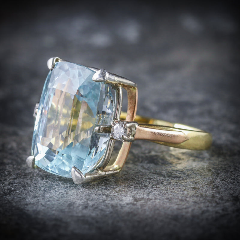 AQUAMARINE DIAMOND RING 20CT AQUA 18CT GOLD SIDE