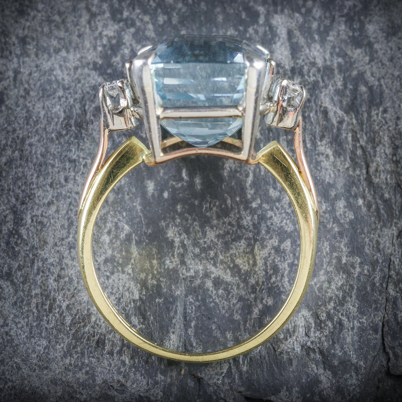 AQUAMARINE DIAMOND RING 20CT AQUA 18CT GOLD TOP
