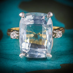 AQUAMARINE DIAMOND RING 20CT AQUA 18CT GOLD COVER