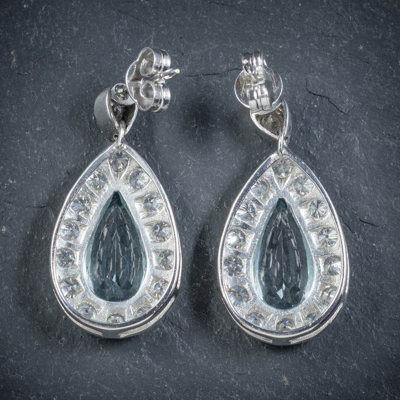 AQUAMARINE DROP EARRINGS 18CT WHITE GOLD back