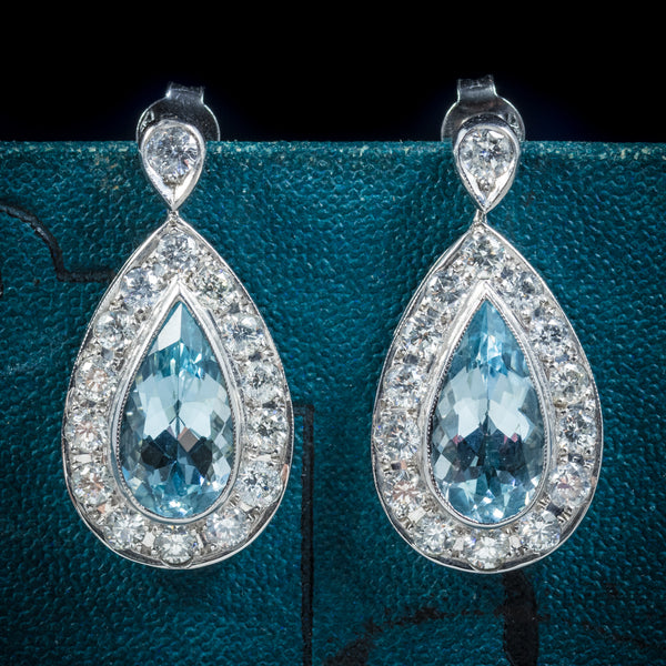 AQUAMARINE DROP EARRINGS 18CT WHITE GOLD cover