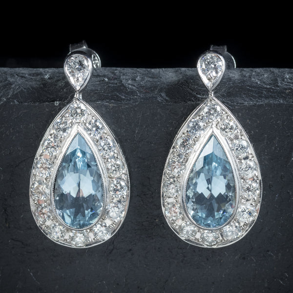 AQUAMARINE DROP EARRINGS 18CT WHITE GOLD front