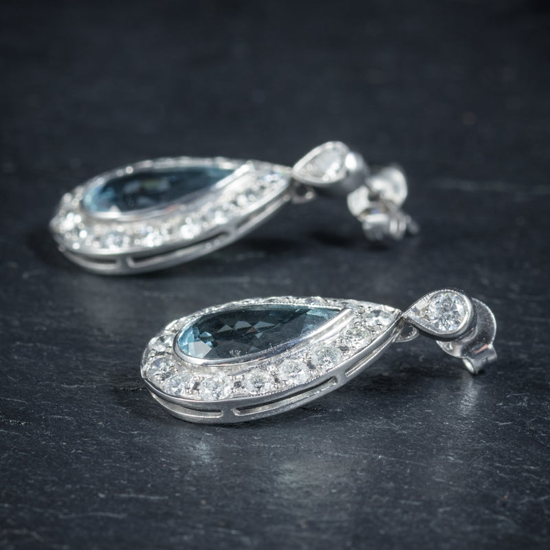 AQUAMARINE DROP EARRINGS 18CT WHITE GOLD side