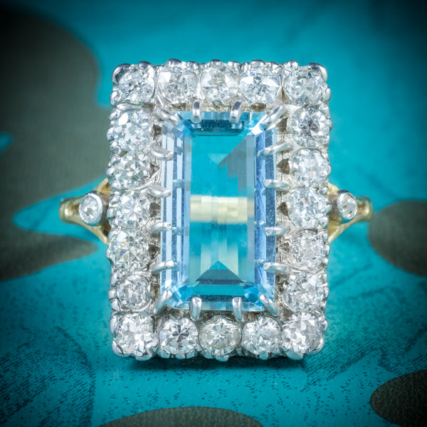 AQUAMARINE RING 18CT GOLD 6CT AQUA cover