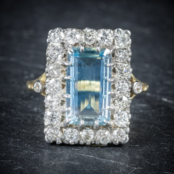 Aquamarine Ring 18ct Gold 6ct Aqua front