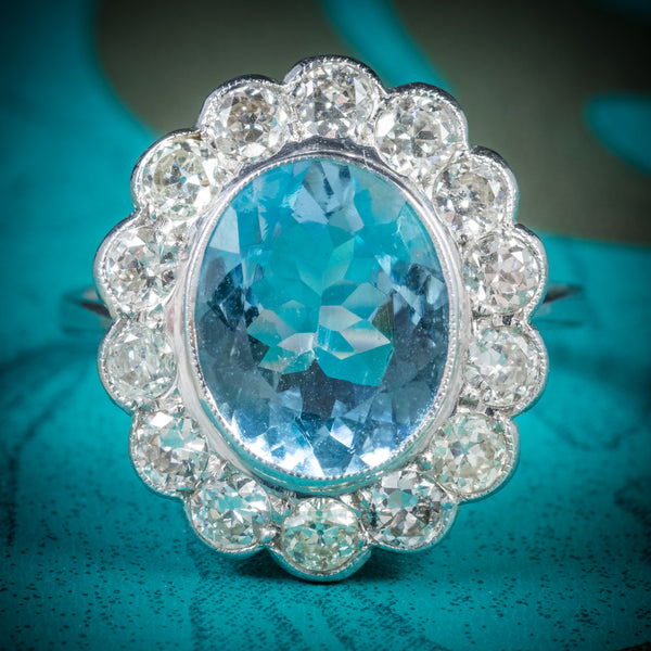 AQUAMARINE RING 18CT WHITE GOLD 5CT AQUA cover