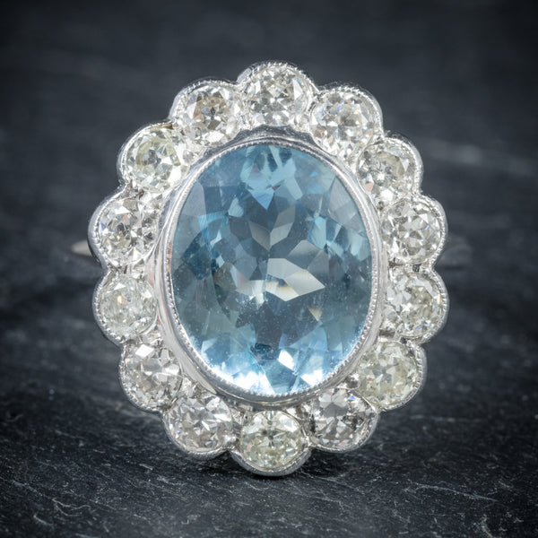 Aquamarine Ring 18ct White Gold 5ct Aqua FRONT