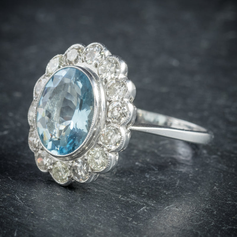 Aquamarine Ring 18ct White Gold 5ct Aqua SIDE