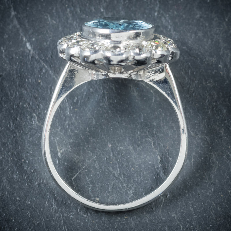 Aquamarine Ring 18ct White Gold 5ct Aqua TOP