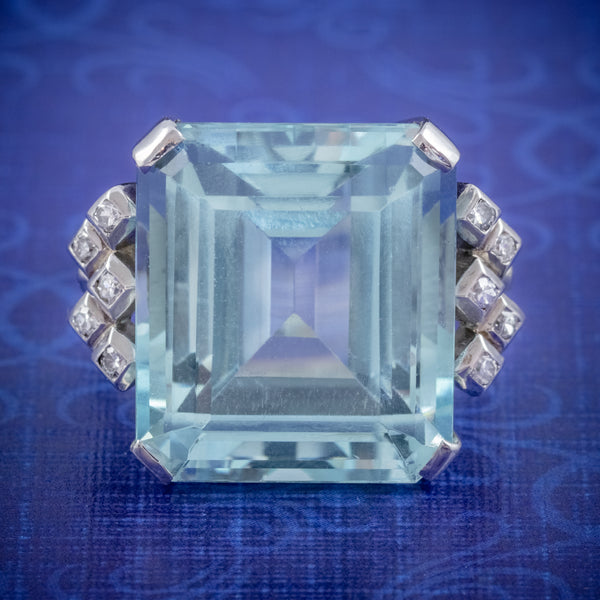 ART DECO AQUAMARINE DIAMOND RING PLATINUM 25CT EMERALD CUT AQUA CIRCA 1930 COVER