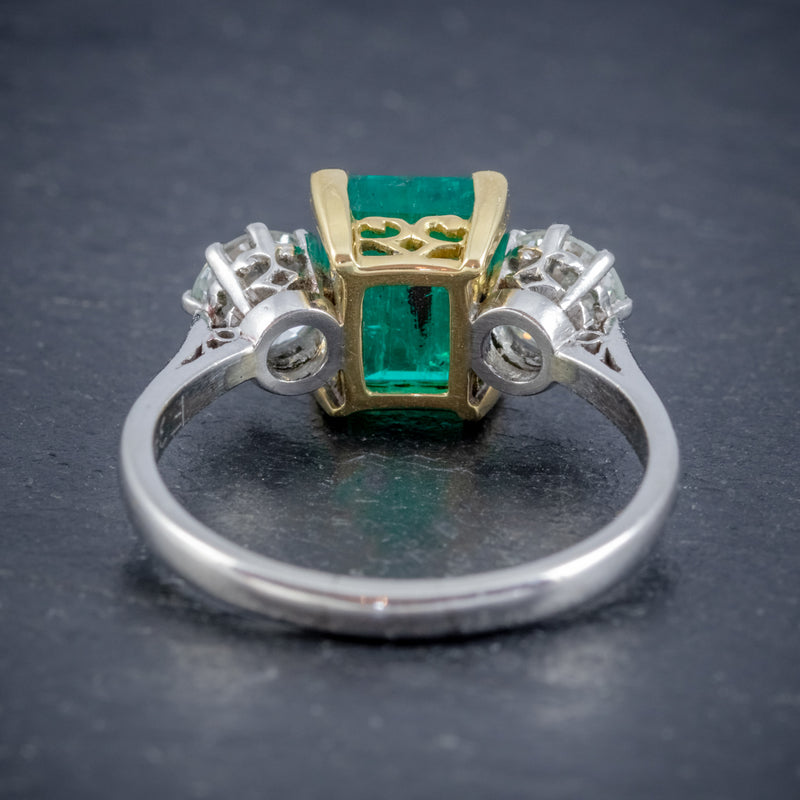 ART DECO COLOMBIAN EMERALD DIAMOND TRILOGY RING PLATINUM 18CT GOLD 2.55CT EMERALD WITH CERT BACK