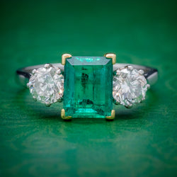 ART DECO COLOMBIAN EMERALD DIAMOND TRILOGY RING PLATINUM 18CT GOLD 2.55CT EMERALD WITH CERT COVER