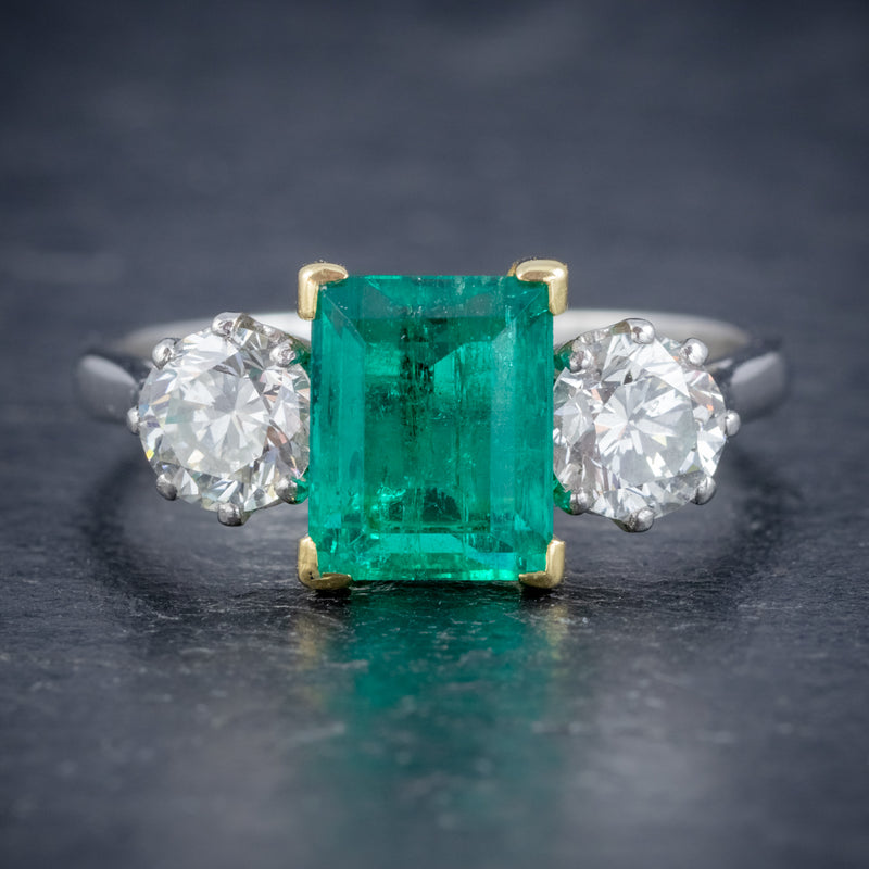 ART DECO COLOMBIAN EMERALD DIAMOND TRILOGY RING PLATINUM 18CT GOLD 2.55CT EMERALD WITH CERT FRONT