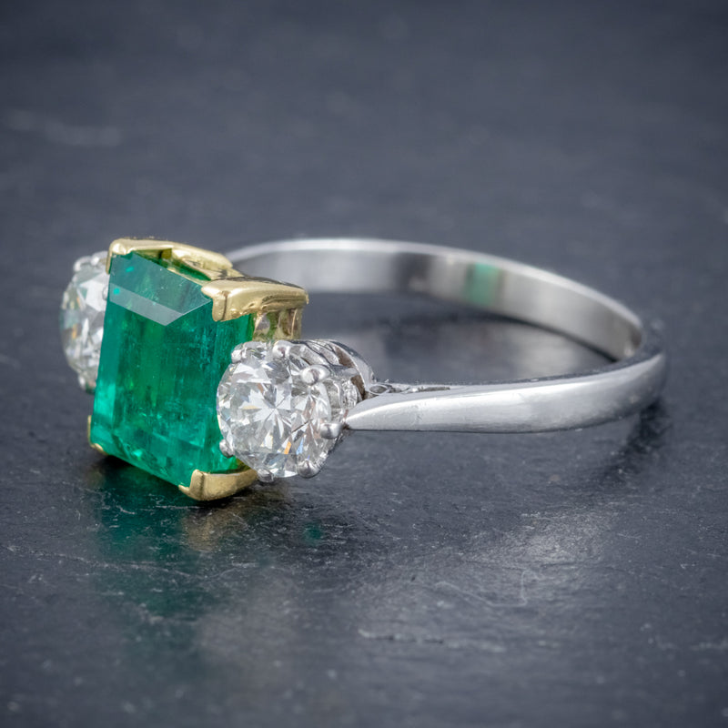 ART DECO COLOMBIAN EMERALD DIAMOND TRILOGY RING PLATINUM 18CT GOLD 2.55CT EMERALD WITH CERT SIDE