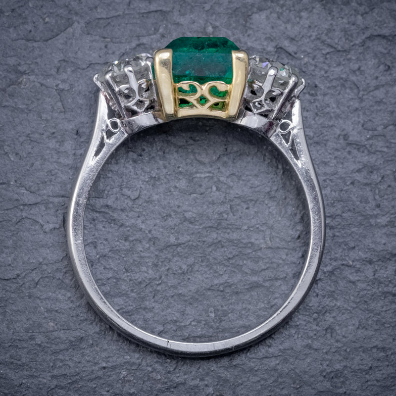 ART DECO COLOMBIAN EMERALD DIAMOND TRILOGY RING PLATINUM 18CT GOLD 2.55CT EMERALD WITH CERT TOP