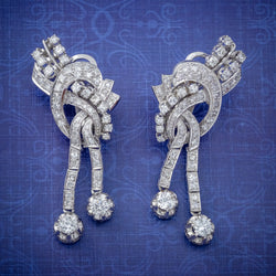 ART DECO DIAMOND CLIP EARRINGS PLATINUM 5CT OF DIAMOND CIRCA 1920 COVER