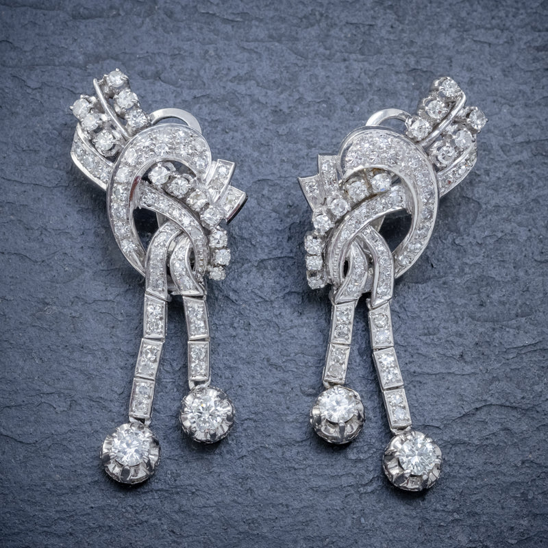 ART DECO DIAMOND CLIP EARRINGS PLATINUM 5CT OF DIAMOND CIRCA 1920 FRONT