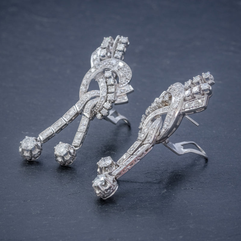 ART DECO DIAMOND CLIP EARRINGS PLATINUM 5CT OF DIAMOND CIRCA 1920 SIDE