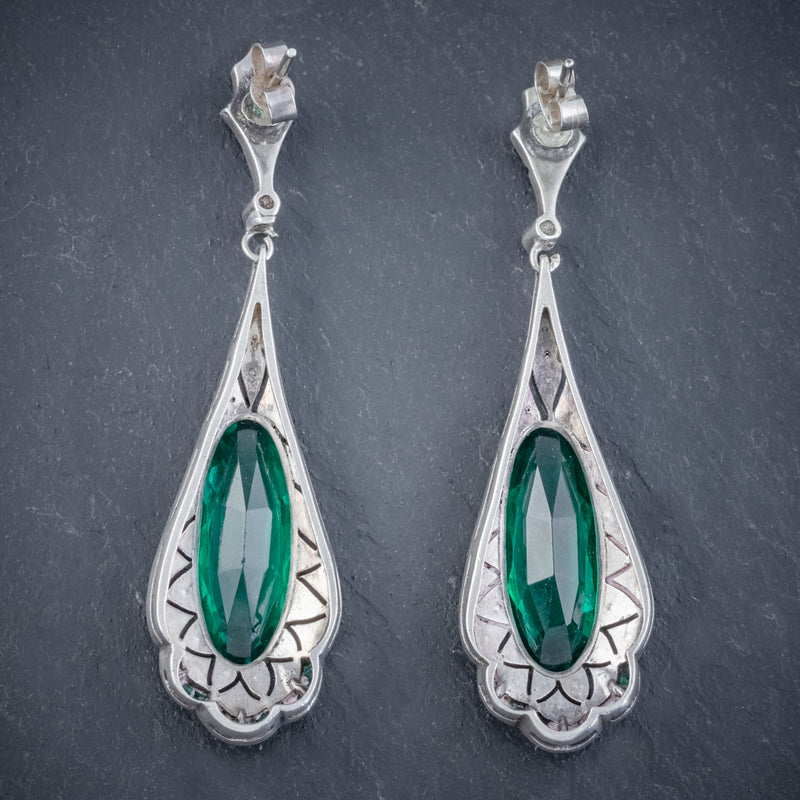 ART DECO GREEN PASTE DROP EARRINGS SILVER CIRCA 1920 back
