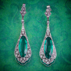 ART DECO GREEN PASTE DROP EARRINGS SILVER CIRCA 1920 cover