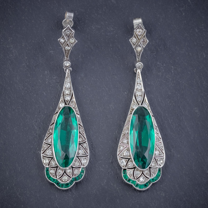 ART DECO GREEN PASTE DROP EARRINGS SILVER CIRCA 1920 front