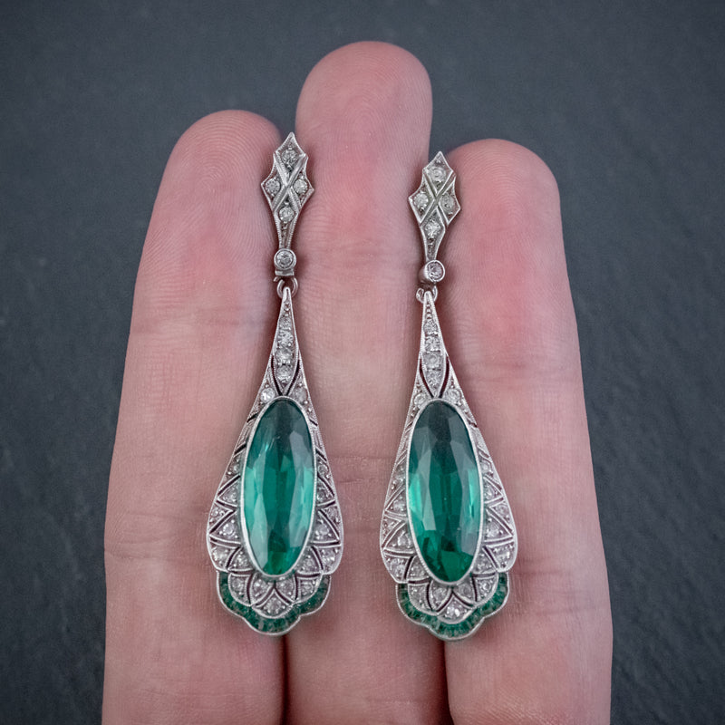 ART DECO GREEN PASTE DROP EARRINGS SILVER CIRCA 1920 hand