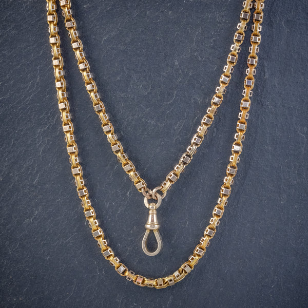 ART DECO SOLID 18CT GOLD GUARD CHAIN 58 GRAMS CIRCA 1920 FRONT