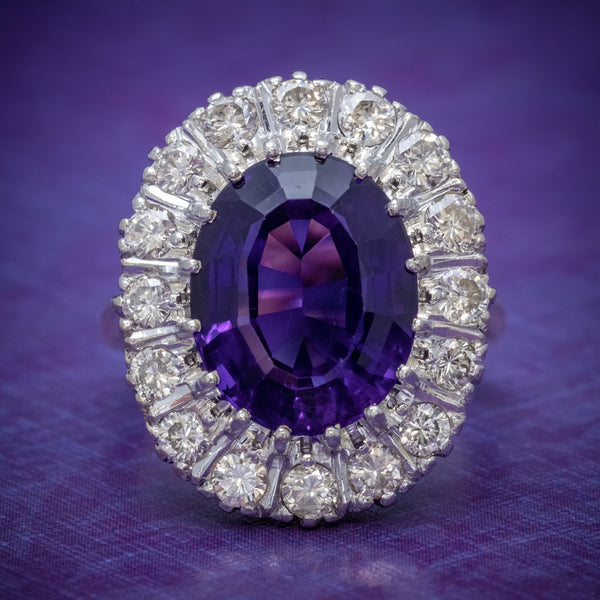 Art Deco Amethyst Diamond Ring 18ct Gold Circa 1930 COVER
