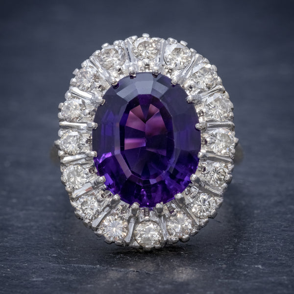 Art Deco Amethyst Diamond Ring 18ct Gold Circa 1930 FRONT