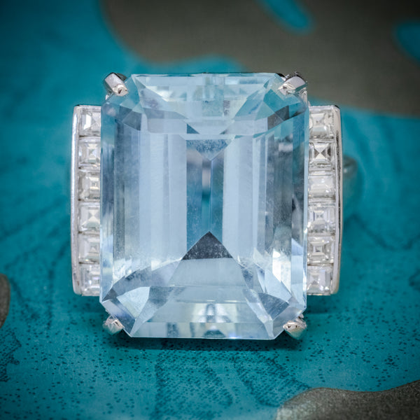 ART DECO AQUAMARINE RING PLATINUM 12CT AQUA CIRCA 1930 COVER
