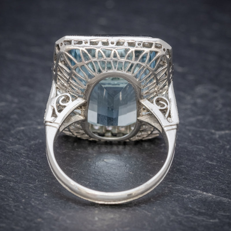 ART DECO AQUAMARINE RING PLATINUM 18CT AQUA CIRCA 1930 BACK