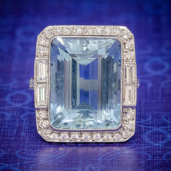 ART DECO AQUAMARINE RING PLATINUM 18CT AQUA CIRCA 1930 COVER