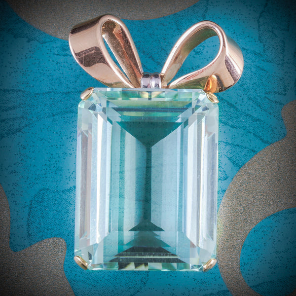 ART DECO AQUAMARINE PENDANT 18CT GOLD CIRCA 1920 COVER