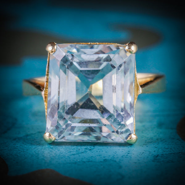 ART DECO AQUAMARINE RING 18CT GOLD 15CT AQUAMARINE COVER