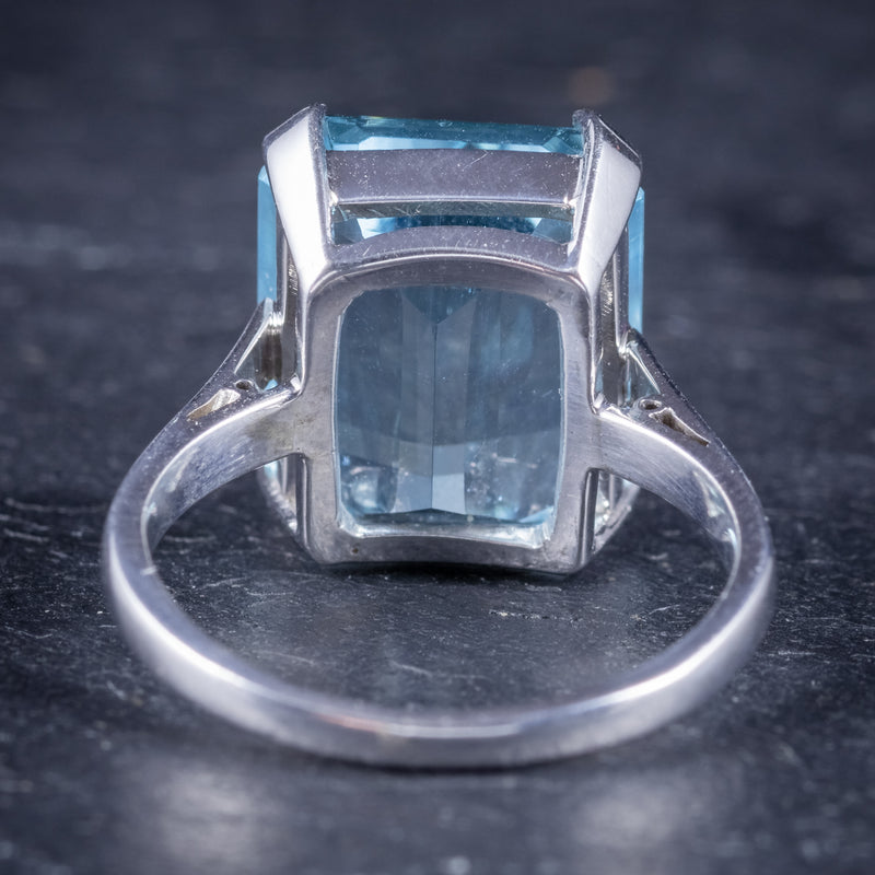 Art Deco Aquamarine Ring 18ct Gold Platinum 9ct Aqua Circa 1930 back