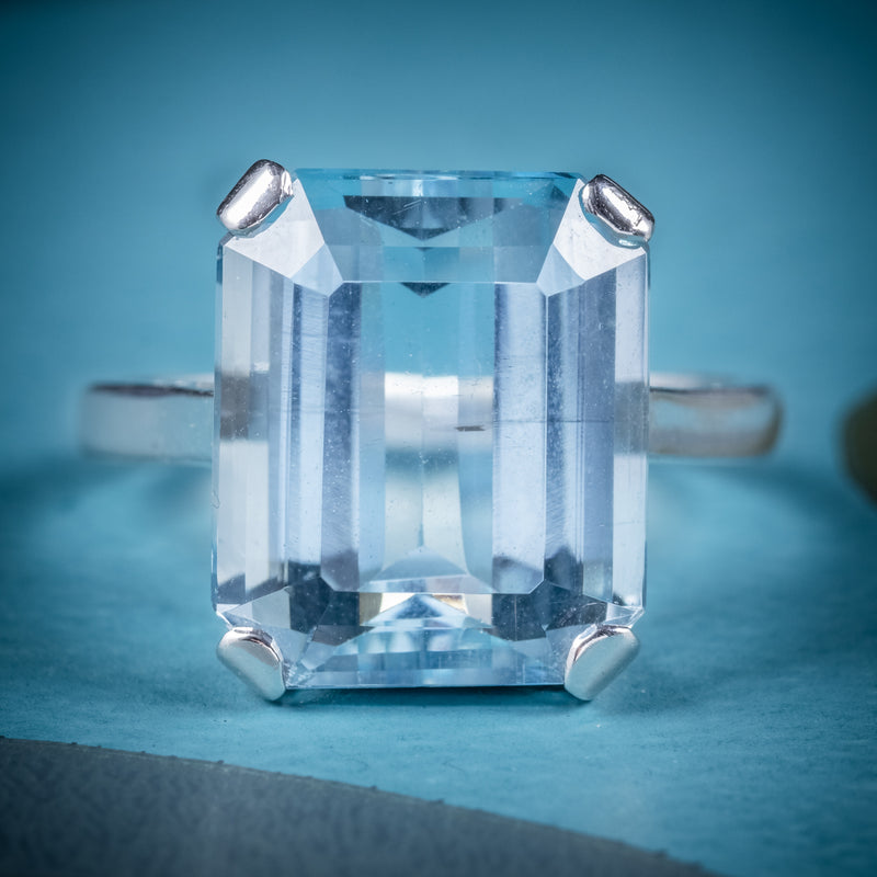 Art Deco Aquamarine Ring 18ct Gold Platinum 9ct Aqua Circa 1930 cover