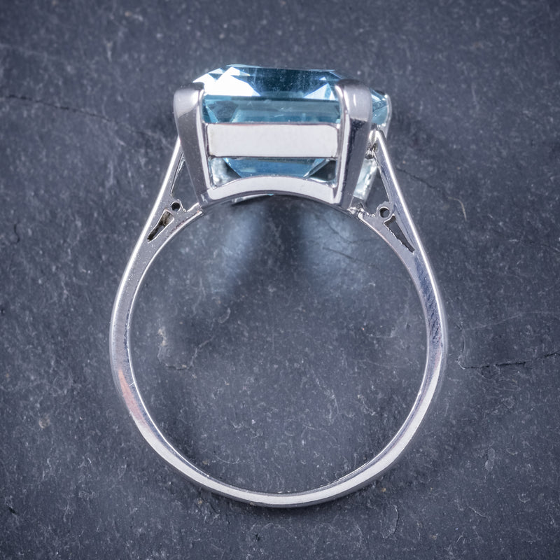 Art Deco Aquamarine Ring 18ct Gold Platinum 9ct Aqua Circa 1930 top