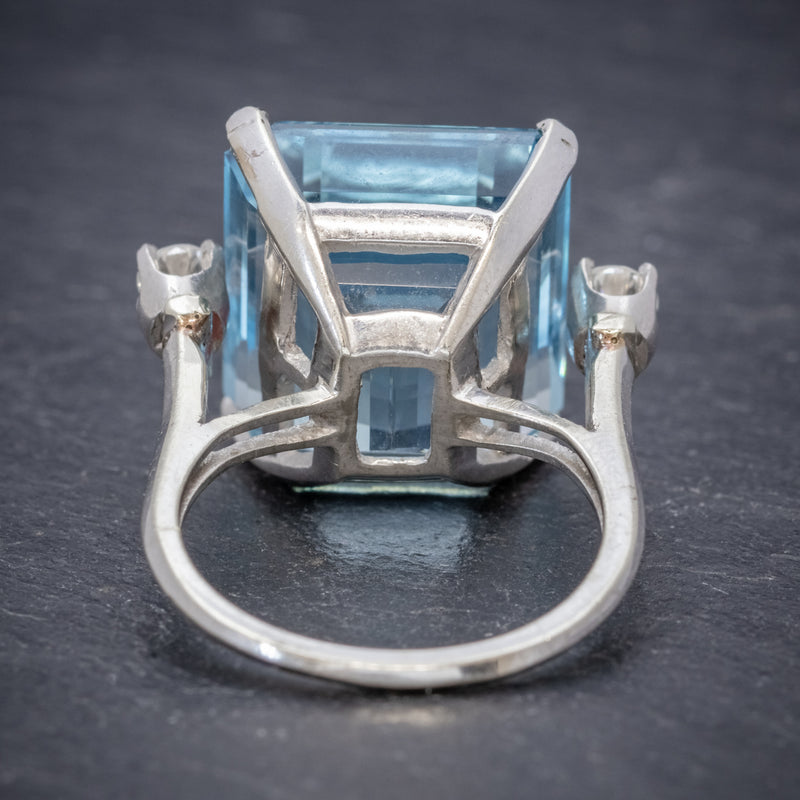 ART DECO AQUAMARINE RING 18CT WHITE GOLD 17.5CT AQUA CIRCA 1920 BACK